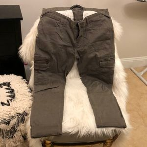 Express gray/green cargo skinny cropped pants.